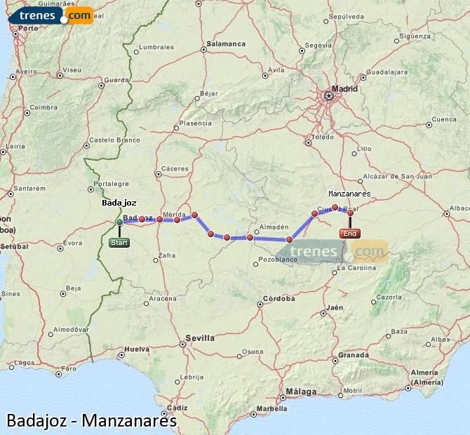 Enlarge map Trains Badajoz to Manzanares