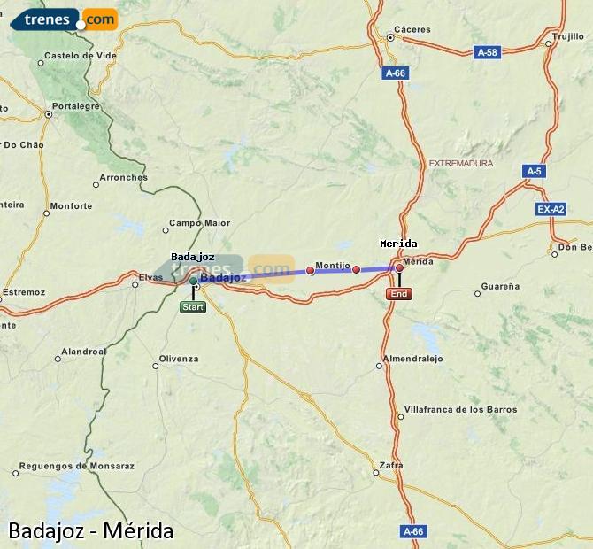 Ampliar mapa Trenes Badajoz Mérida