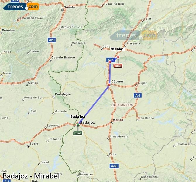 Karte vergrößern Züge Badajoz Mirabel