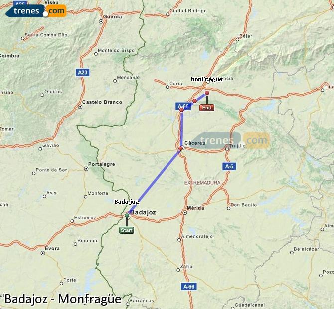Ingrandisci la mappa Treni Badajoz Monfragüe