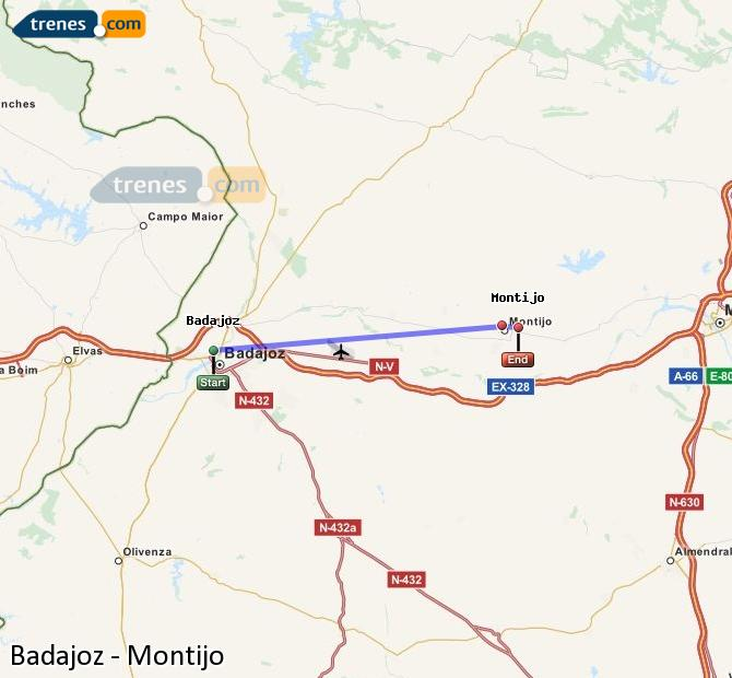 Enlarge map Trains Badajoz to Montijo