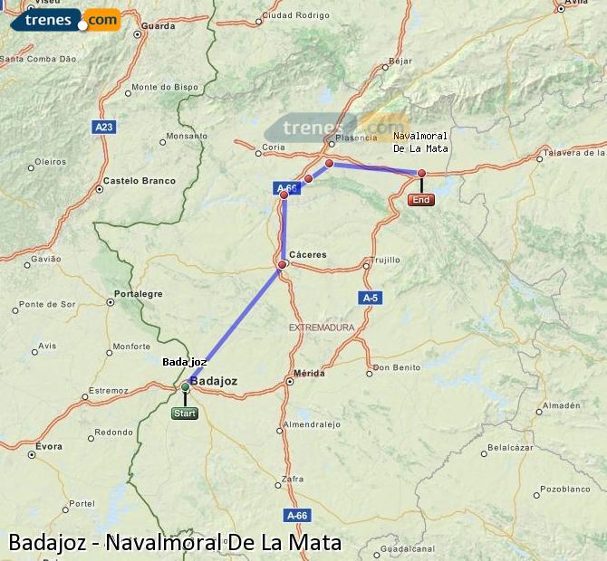 Karte vergrößern Züge Badajoz Navalmoral De La Mata