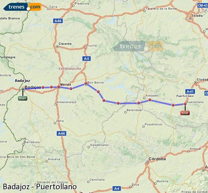Enlarge map Trains Badajoz to Puertollano