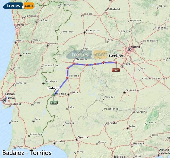 Ampliar mapa Comboios Badajoz Torrijos