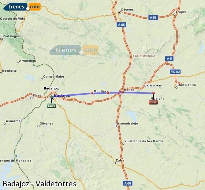 Ampliar mapa Trenes Badajoz Valdetorres