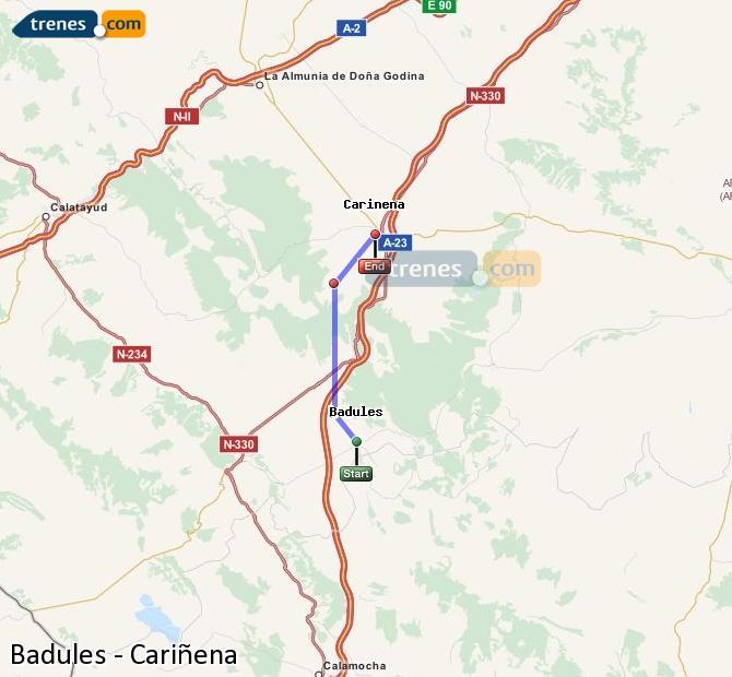 Agrandir la carte Trains Badules Cariñena