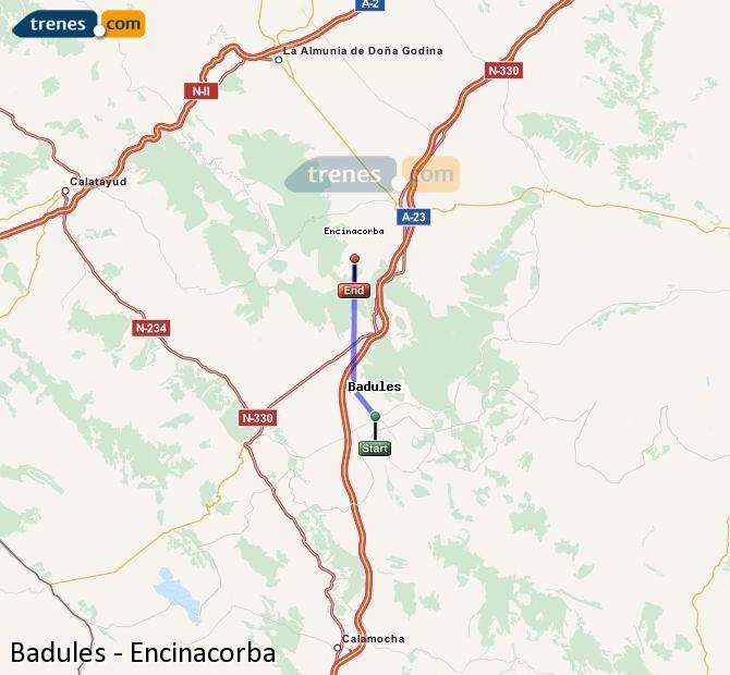 Agrandir la carte Trains Badules Encinacorba