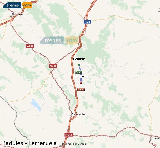 Enlarge map Trains Badules to Ferreruela