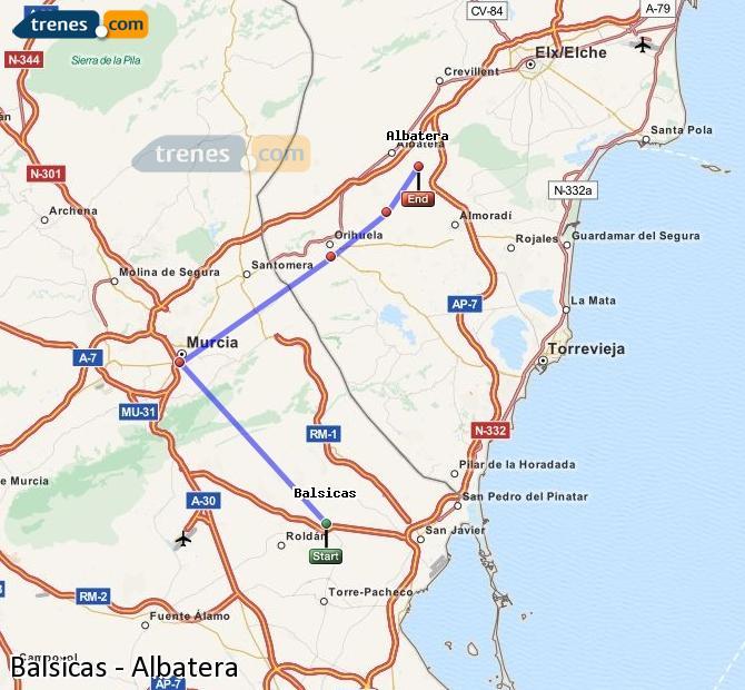 Ampliar mapa Comboios Balsicas Albatera