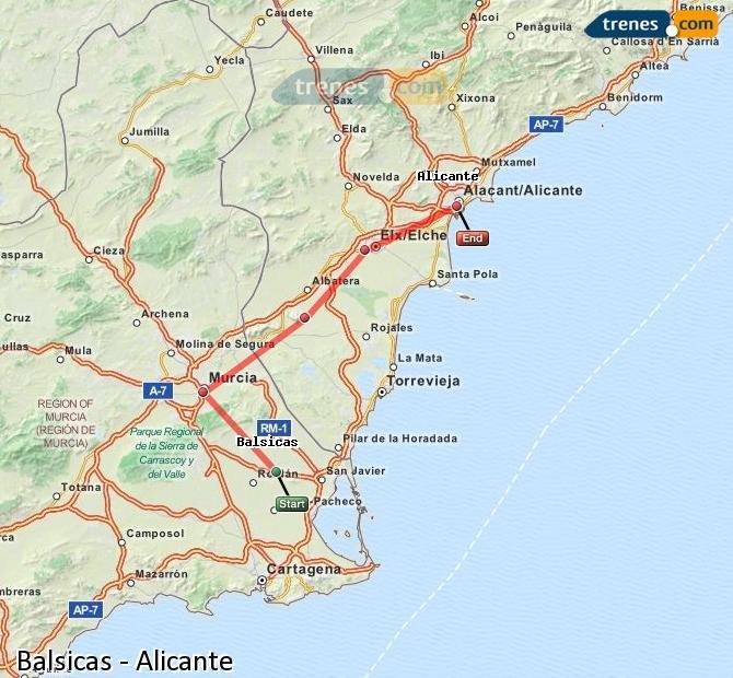 Agrandir la carte Trains Balsicas Alicante
