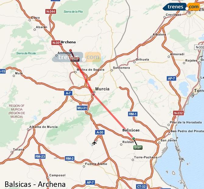 Ingrandisci la mappa Treni Balsicas Archena