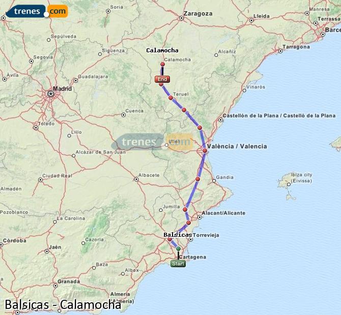 Karte vergrößern Züge Balsicas Calamocha