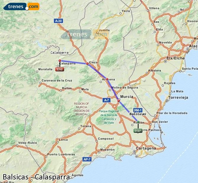 Agrandir la carte Trains Balsicas Calasparra