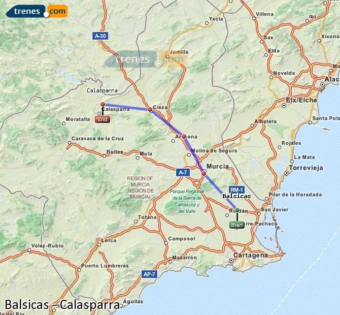 Ampliar mapa Trenes Balsicas Calasparra