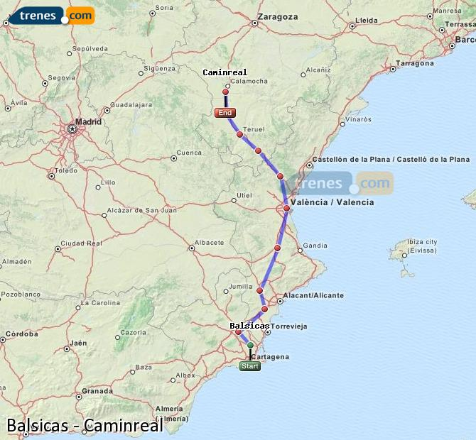 Enlarge map Trains Balsicas to Caminreal