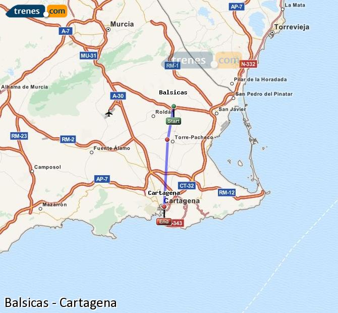 Agrandir la carte Trains Balsicas Cartagena