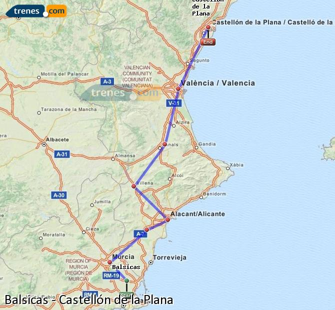 Ingrandisci la mappa Treni Balsicas Castellón