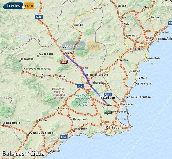 Ampliar mapa Comboios Balsicas Cieza