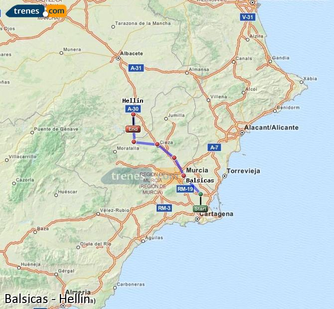 Karte vergrößern Züge Balsicas Hellín