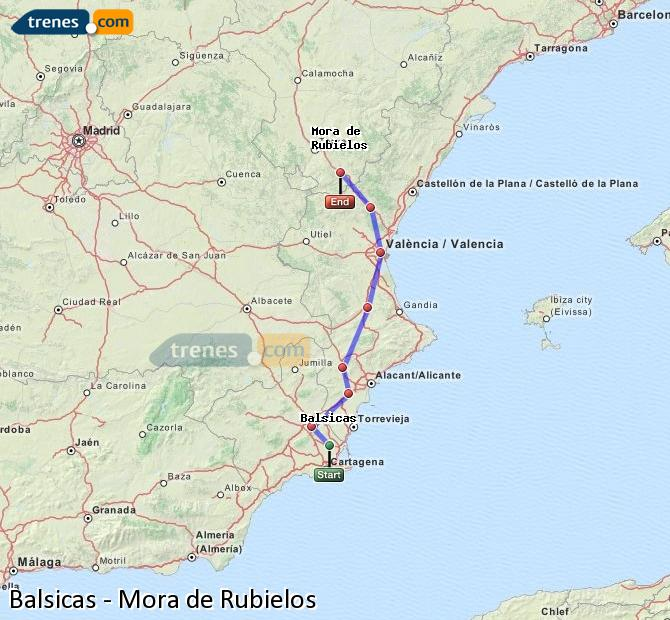 Enlarge map Trains Balsicas to Mora de Rubielos