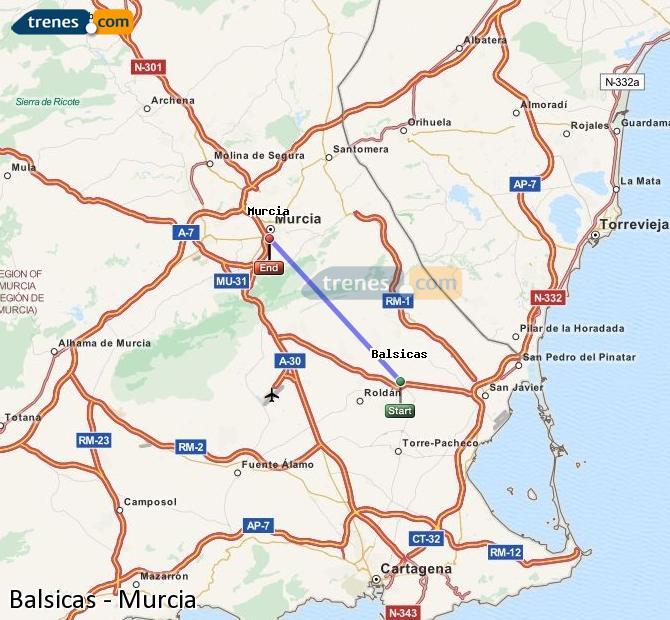Agrandir la carte Trains Balsicas Murcia
