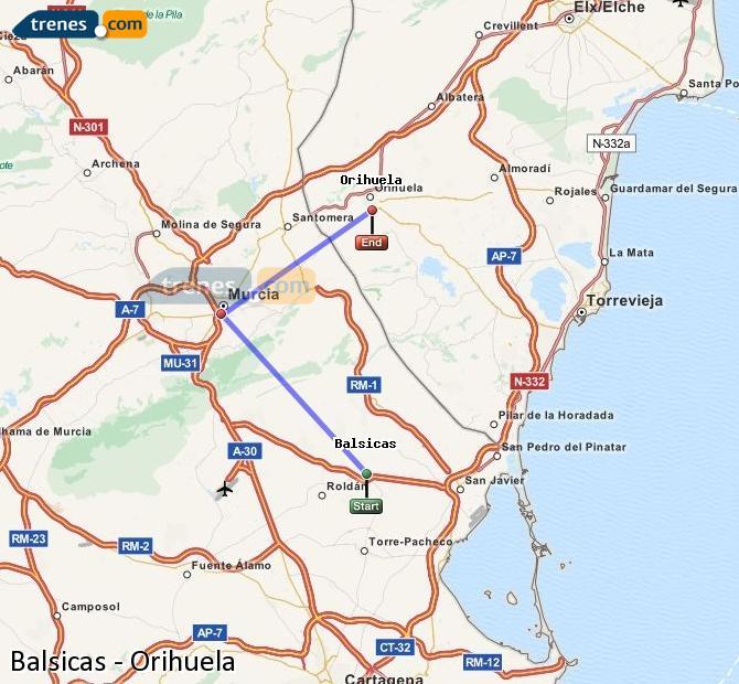 Agrandir la carte Trains Balsicas Orihuela