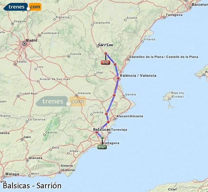 Ampliar mapa Comboios Balsicas Sarrión