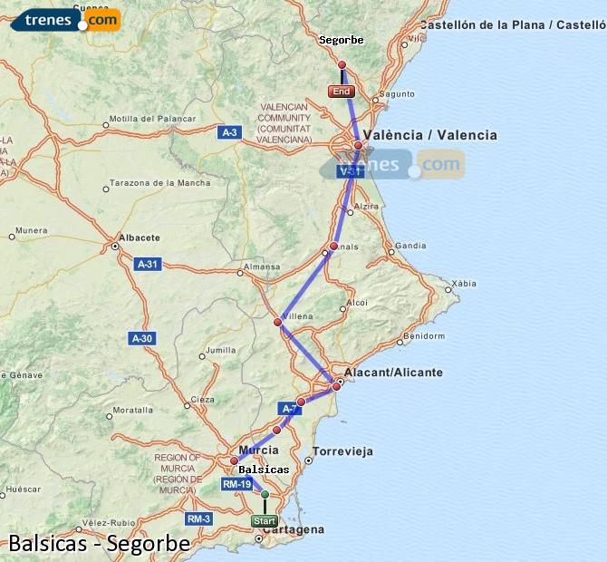 Agrandir la carte Trains Balsicas Segorbe