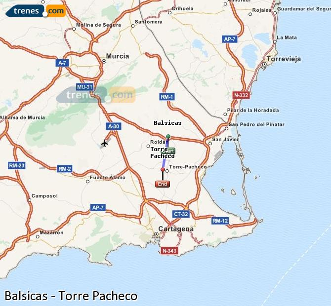 Enlarge map Trains Balsicas to Torre Pacheco