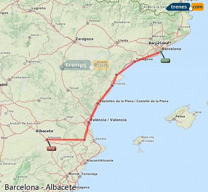 Enlarge map Trains Barcelona to Albacete
