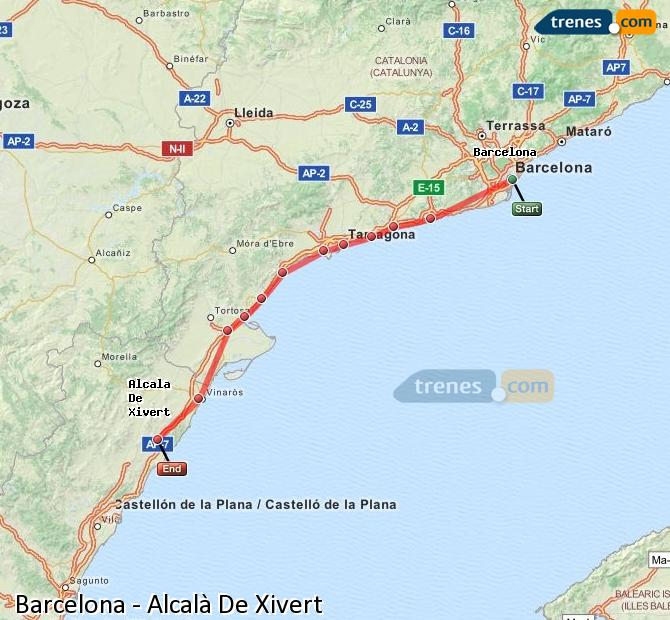 Enlarge map Trains Barcelona to Alcalà De Xivert