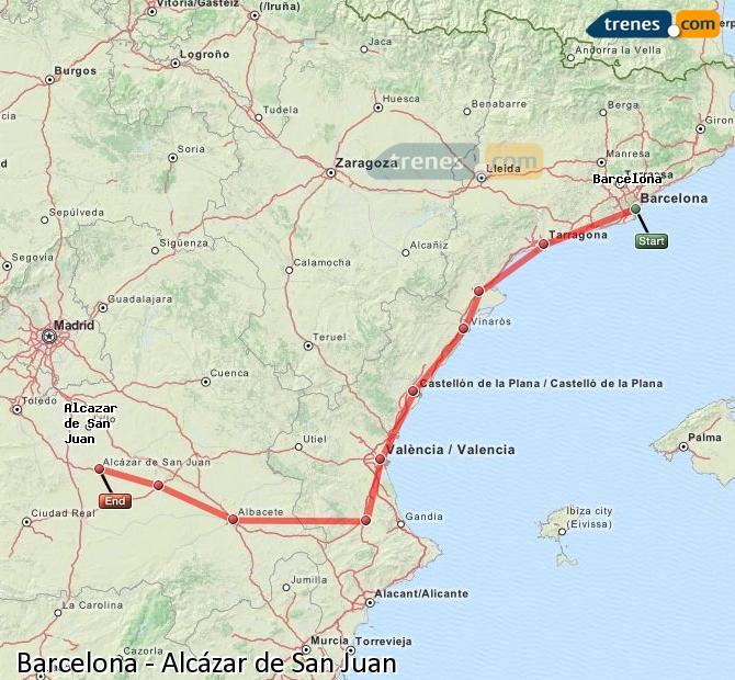 Enlarge map Trains Barcelona to Alcazar de San Juan