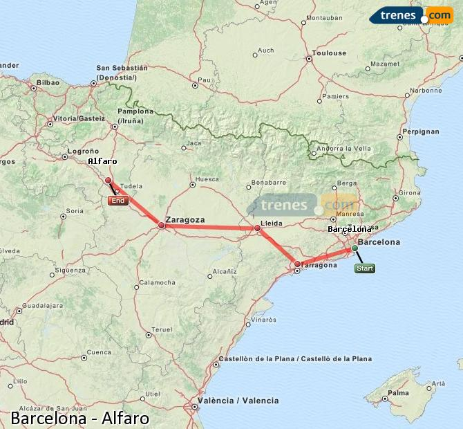 Enlarge map Trains Barcelona to Alfaro