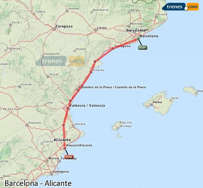 Enlarge map Trains Barcelona to Alicante