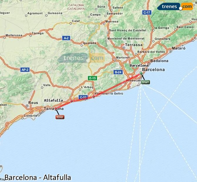 Enlarge map Trains Barcelona to Altafulla