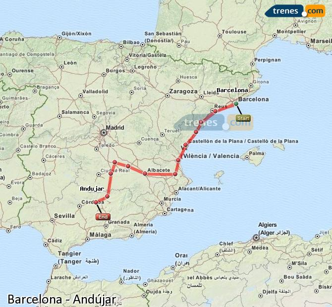 Enlarge map Trains Barcelona to Andújar