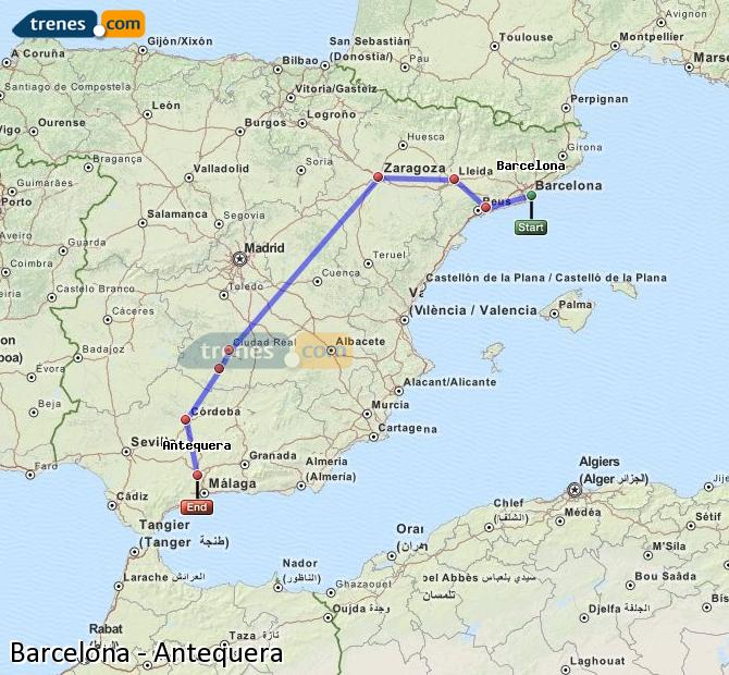 Enlarge map Trains Barcelona to Antequera