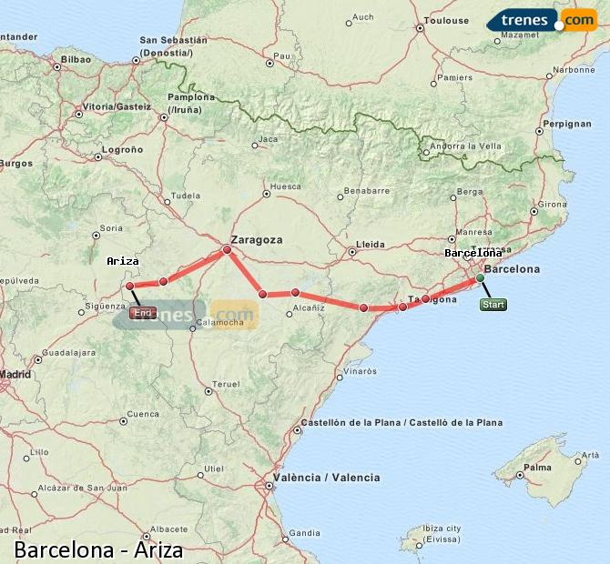 Enlarge map Trains Barcelona to Ariza