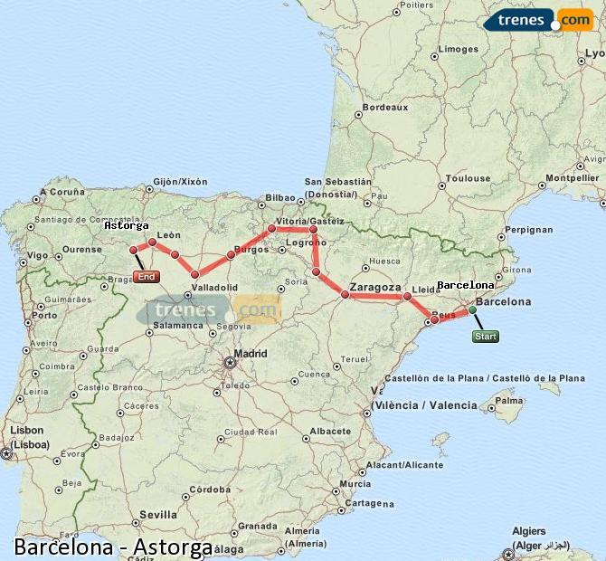 Karte vergrößern Züge Barcelona Astorga