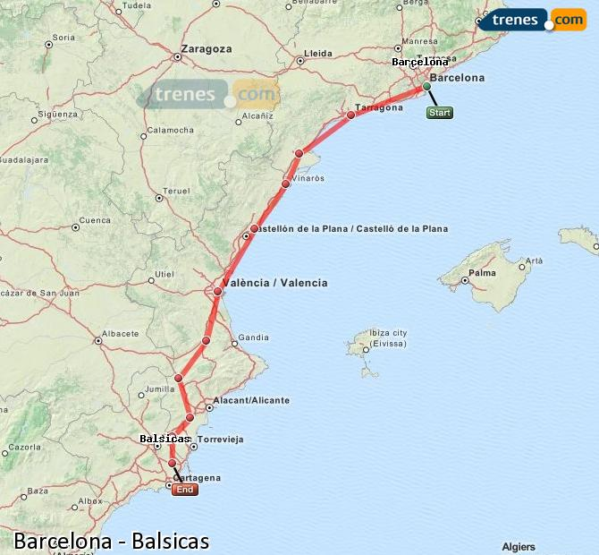 Enlarge map Trains Barcelona to Balsicas