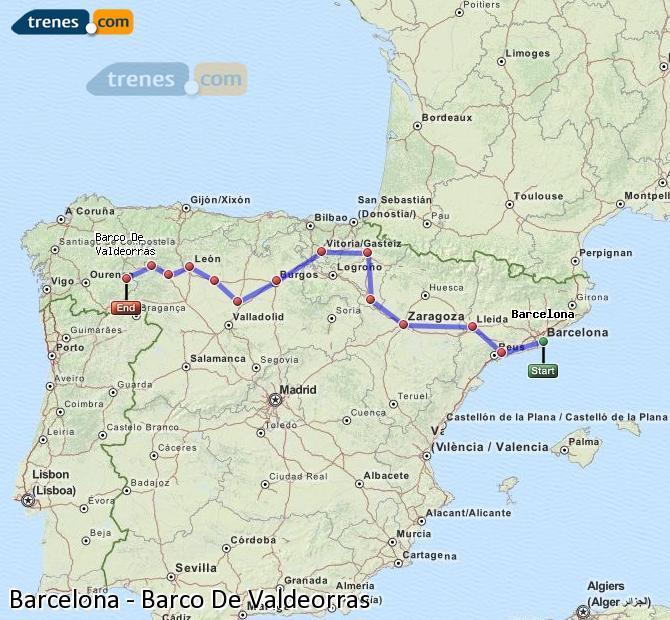 Ampliar mapa Comboios Barcelona Barco De Valdeorras