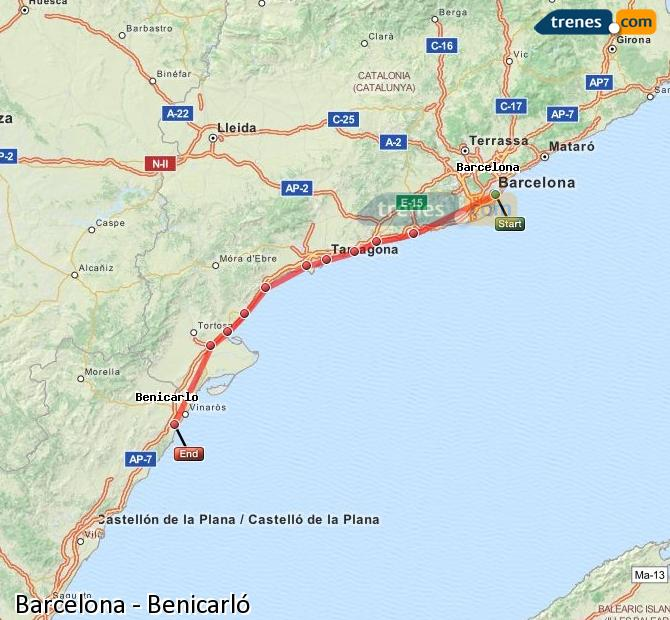 Enlarge map Trains Barcelona to Benicarló