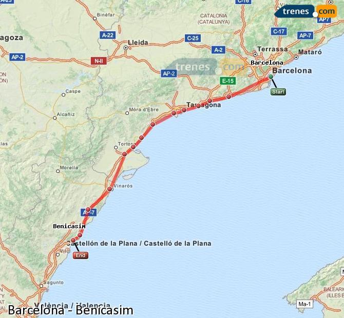 Karte vergrößern Züge Barcelona Benicasim