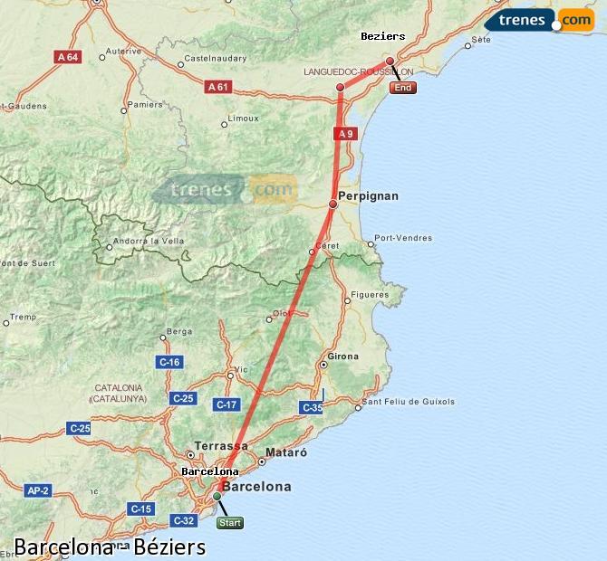 Karte vergrößern Züge Barcelona Béziers