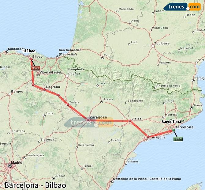 Enlarge map Trains Barcelona to Bilbao