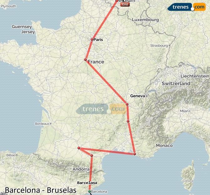 Karte vergrößern Züge Barcelona Brüssel
