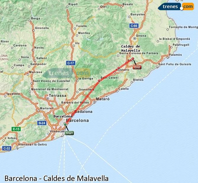 Karte vergrößern Züge Barcelona Caldes de Malavella