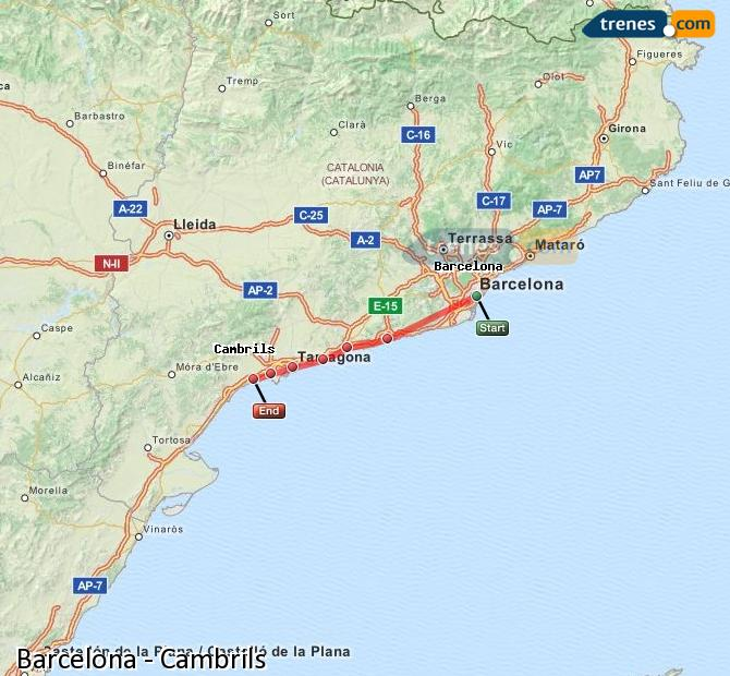 Enlarge map Trains Barcelona to Cambrils