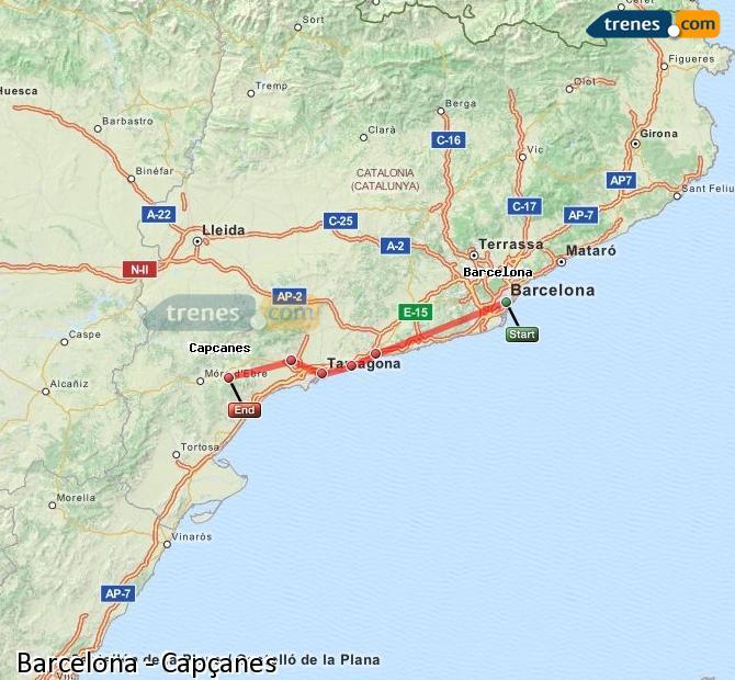 Ingrandisci la mappa Treni Barcellona Capçanes