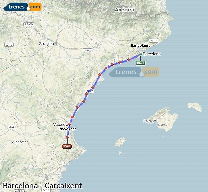 Ampliar mapa Trenes Barcelona Carcaixent